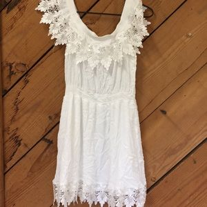 Boohoo white lace off the shoulder dress